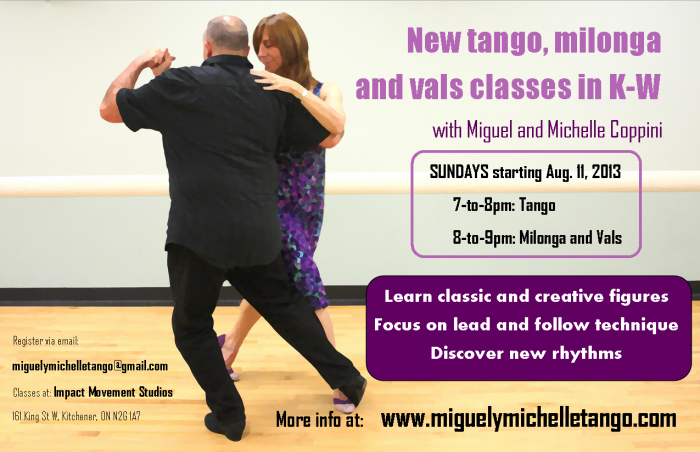 New tango, milonga and vals classes in K-W start Aug. 11 -- Register now!