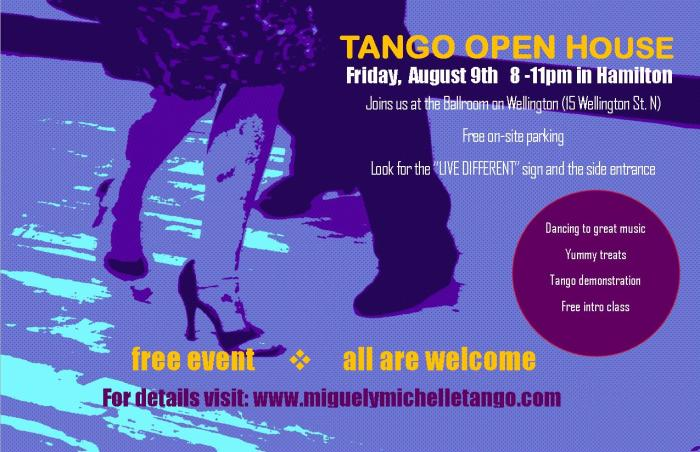 Tango open house in Hamilton August 9