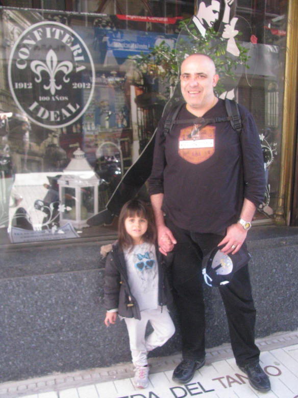 Miguel and Livia in front of the Confiteria Ideal